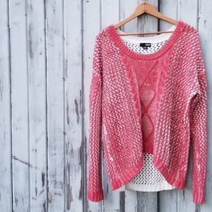 Red Scoop Neck Open Weave Sweater  a.n.a